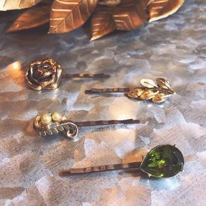 One-of-a-Kind Vintage Hair Pins - Green Glam